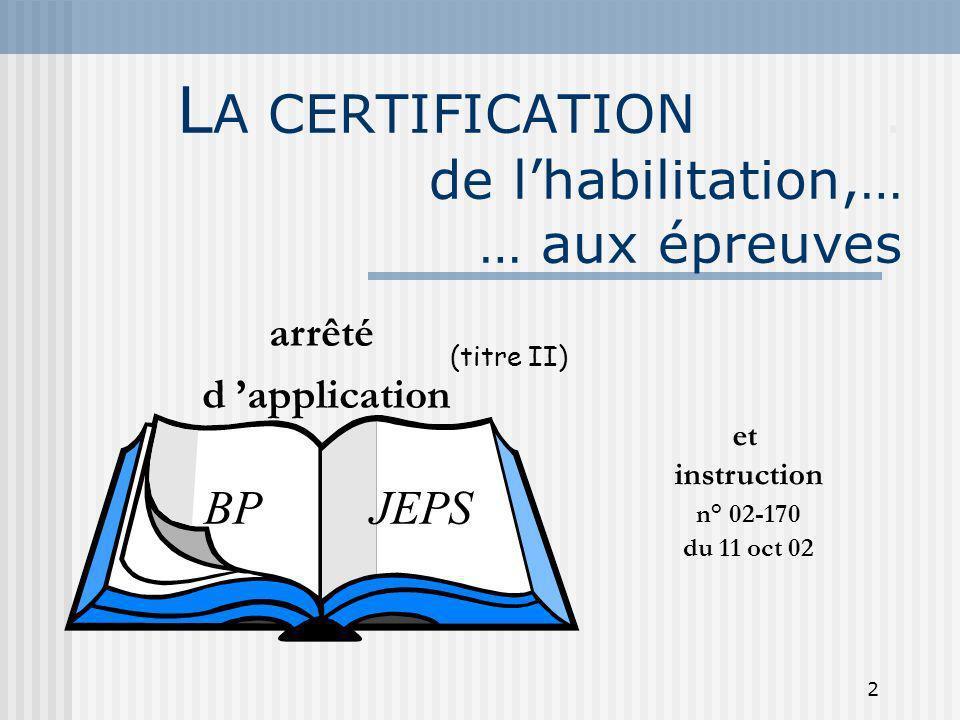 LA CERTIFICATION . de l'habilitation,… … aux épreuves