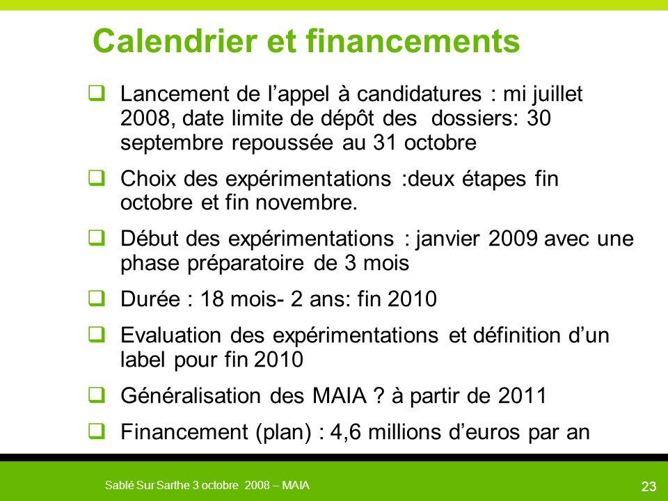 Calendrier et financements