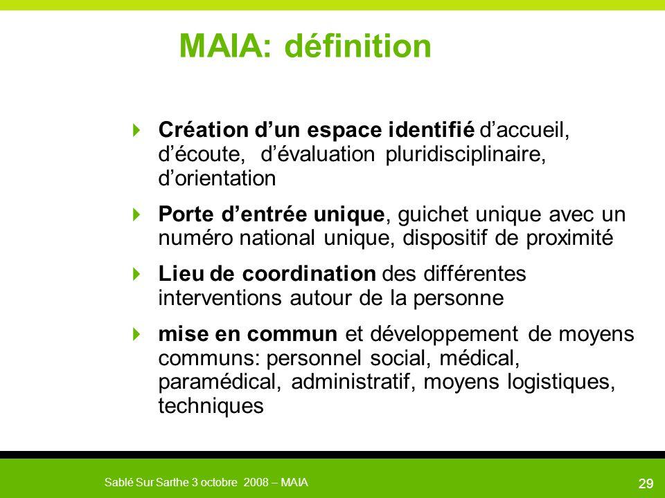 MAIA: définition Création d'un espace identifié d'accueil, d'écoute, d'évaluation pluridisciplinaire, d'orientation.