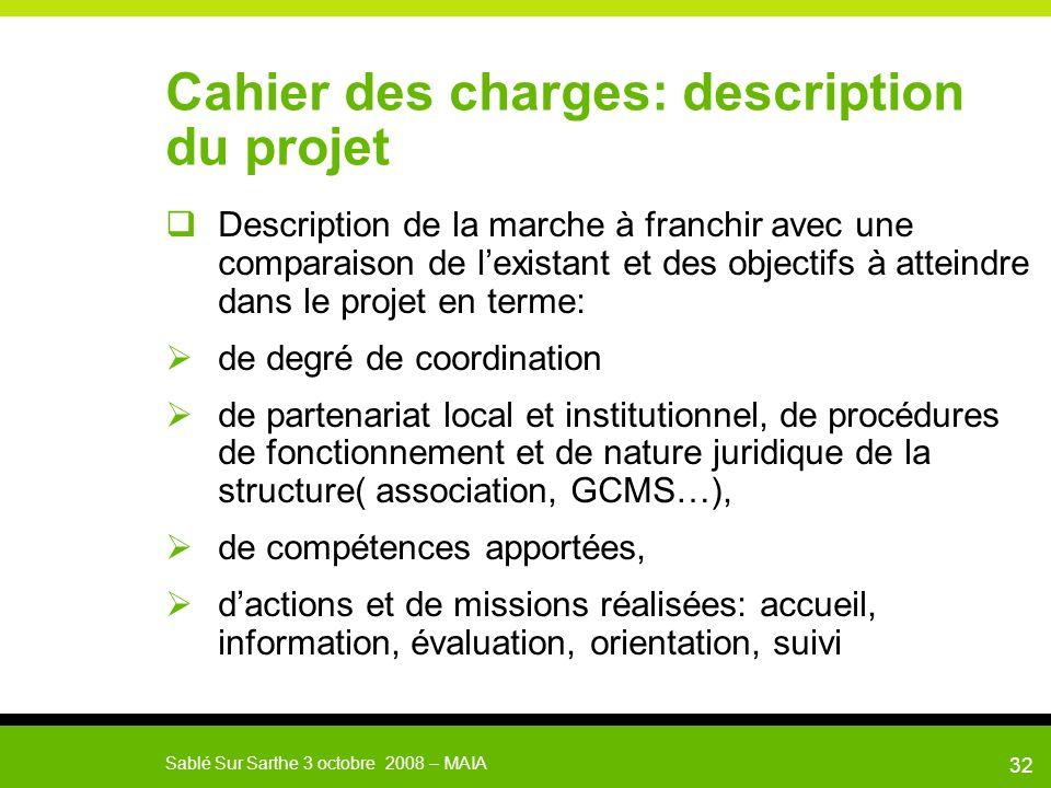 Cahier des charges: description du projet