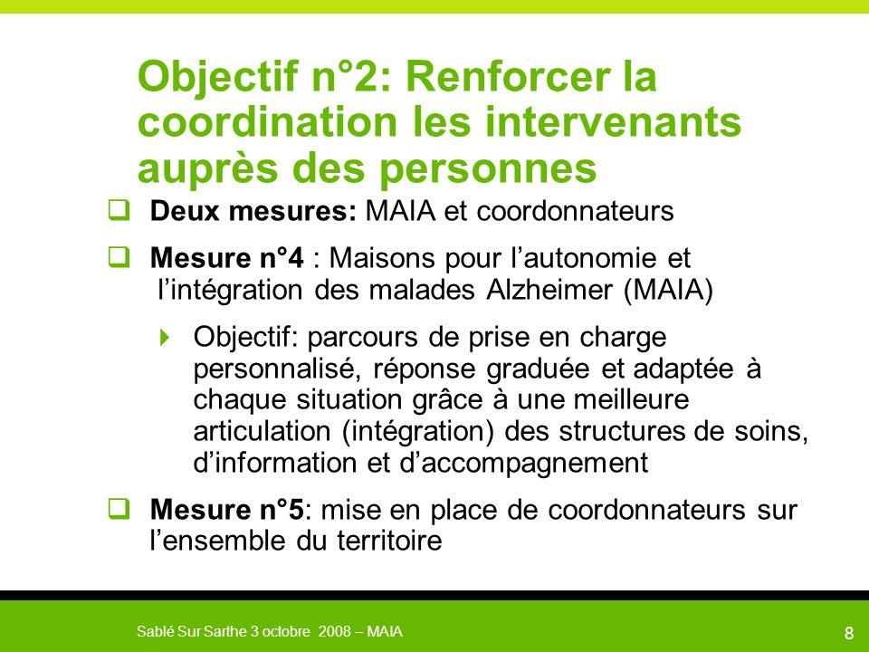 Objectif n°2: Renforcer la coordination les intervenants auprès des personnes