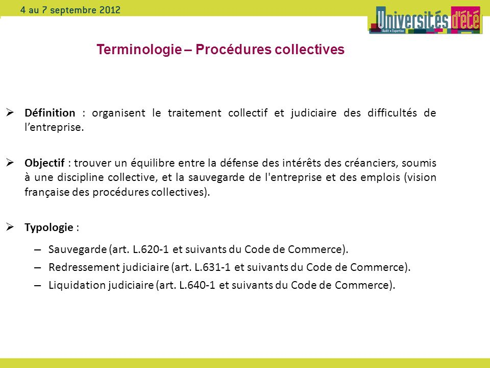 Terminologie – Procédures collectives