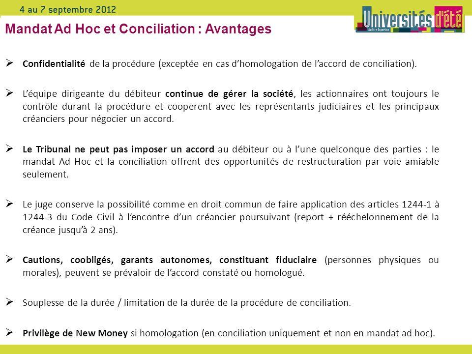 Mandat Ad Hoc et Conciliation : Avantages