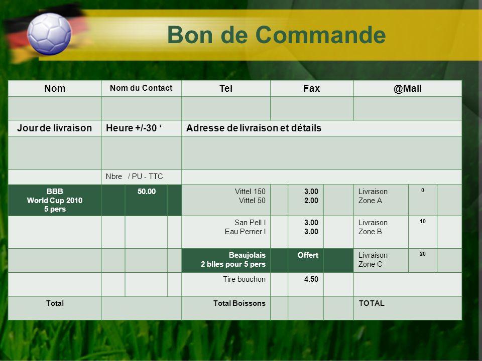 Bon de Commande Nom Tel Fax @Mail Jour de livraison Heure +/-30 '