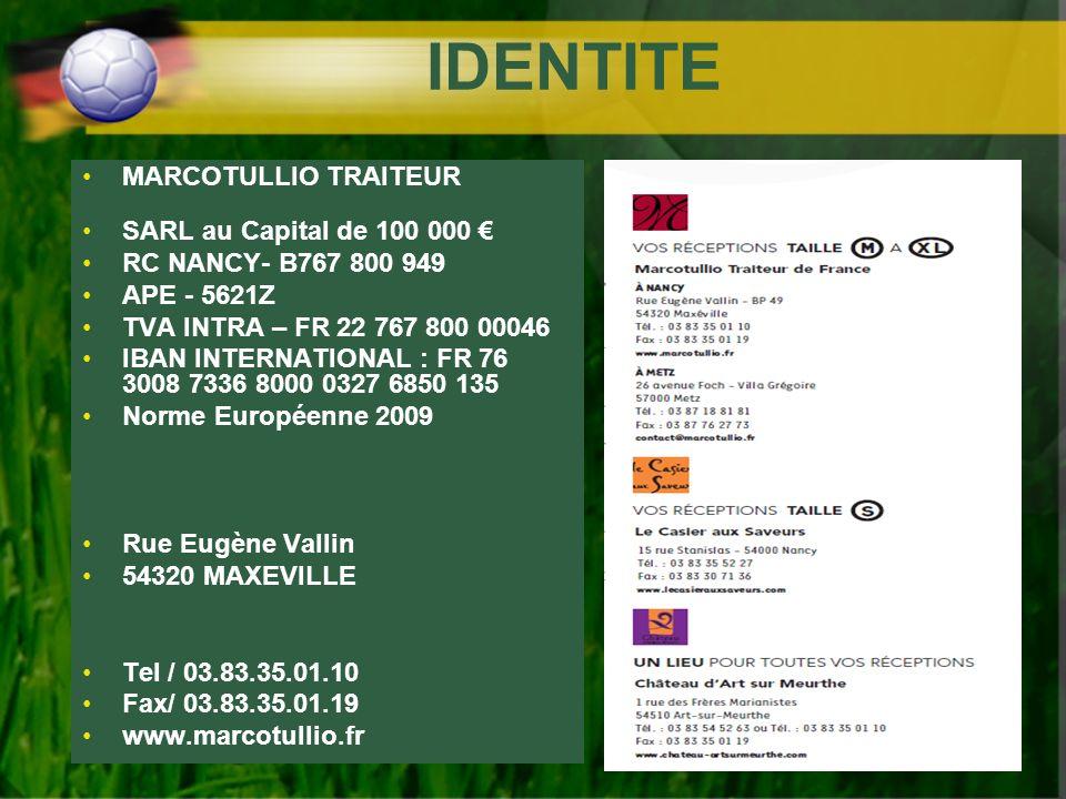 IDENTITE MARCOTULLIO TRAITEUR SARL au Capital de 100 000 €