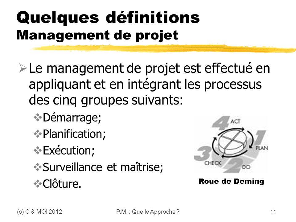 Quelques définitions Management de projet