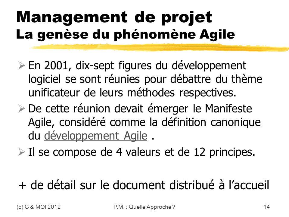 Management de projet La genèse du phénomène Agile
