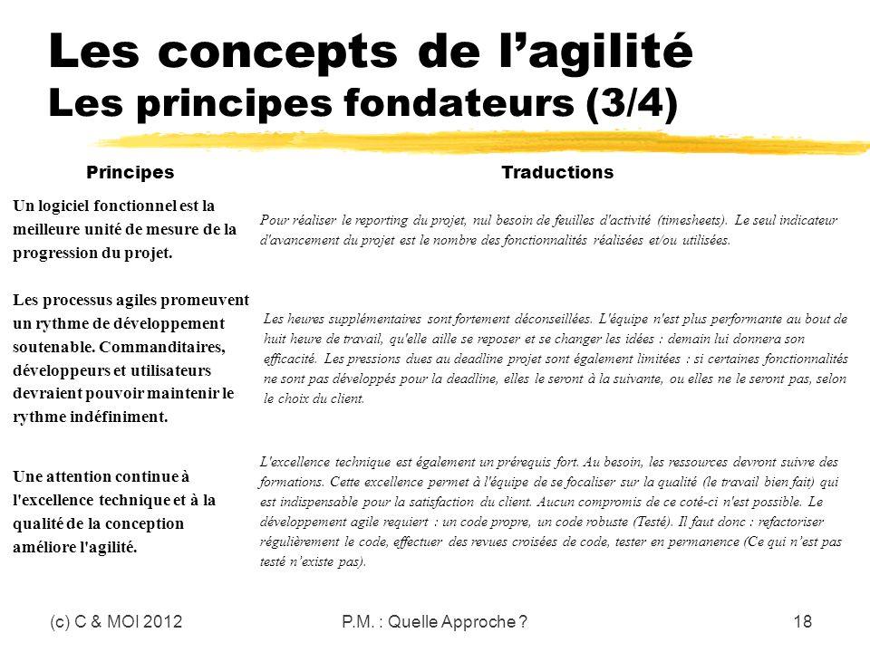 Les concepts de l'agilité Les principes fondateurs (3/4)