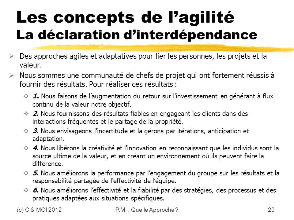 Les concepts de l'agilité La déclaration d'interdépendance