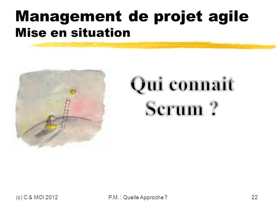 Management de projet agile Mise en situation