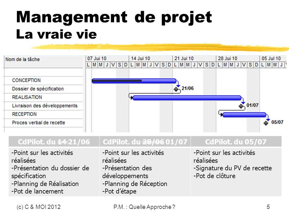 Management de projet La vraie vie