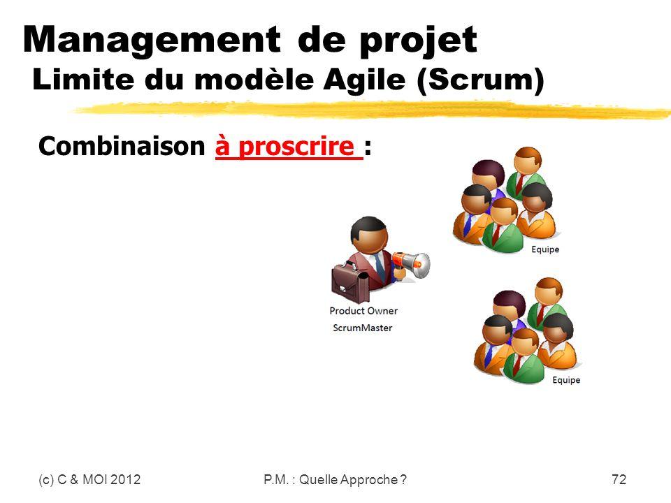 Management de projet Limite du modèle Agile (Scrum)
