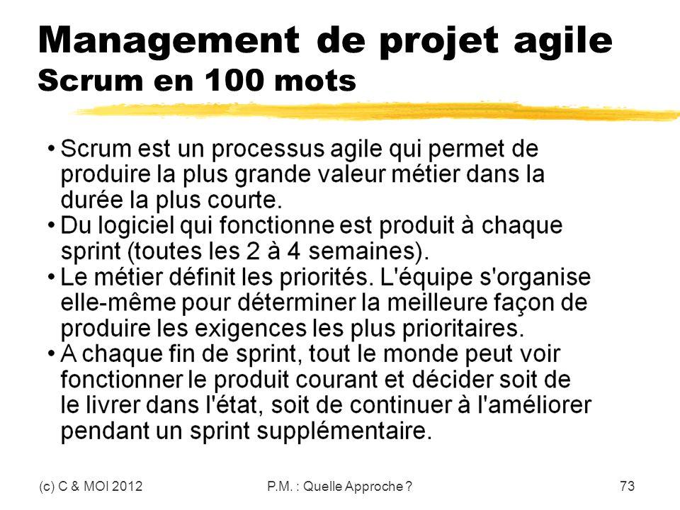 Management de projet agile Scrum en 100 mots