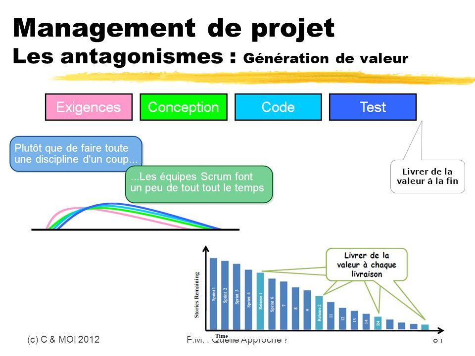 Management de projet Les antagonismes : Génération de valeur