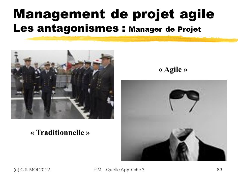 Management de projet agile Les antagonismes : Manager de Projet
