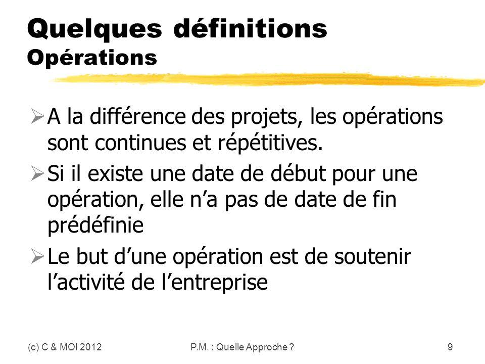 Quelques définitions Opérations