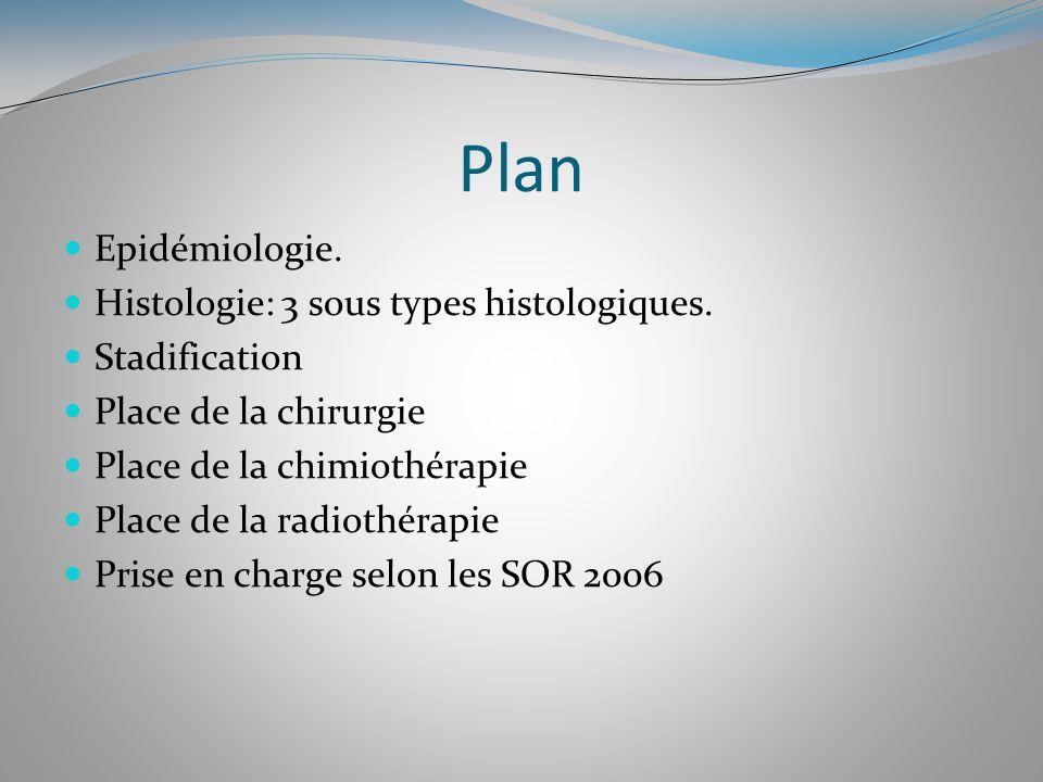 Plan Epidémiologie. Histologie: 3 sous types histologiques.