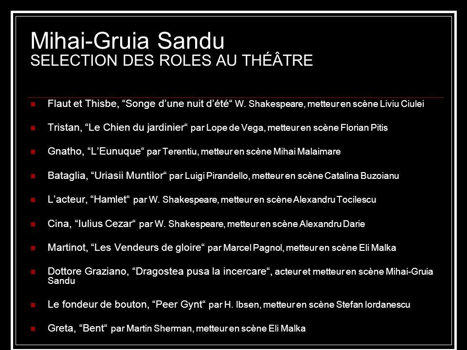 Mihai-Gruia Sandu SELECTION DES ROLES AU THÉÂTRE