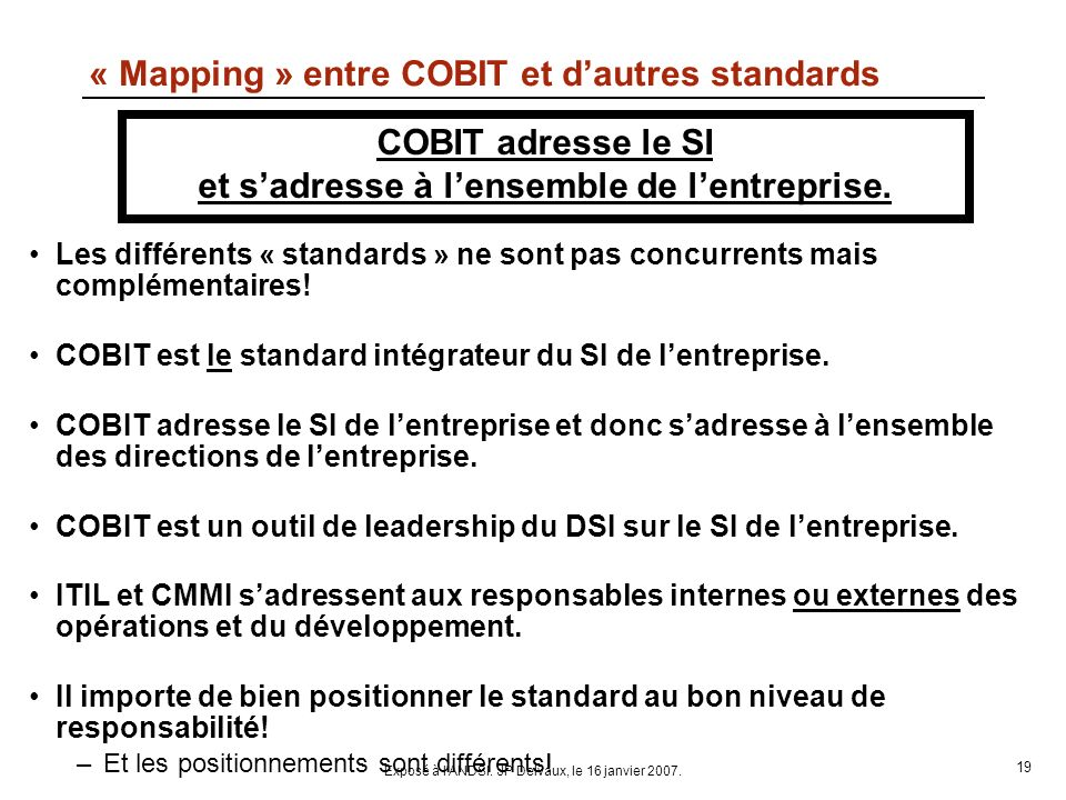 « Mapping » entre COBIT et d'autres standards