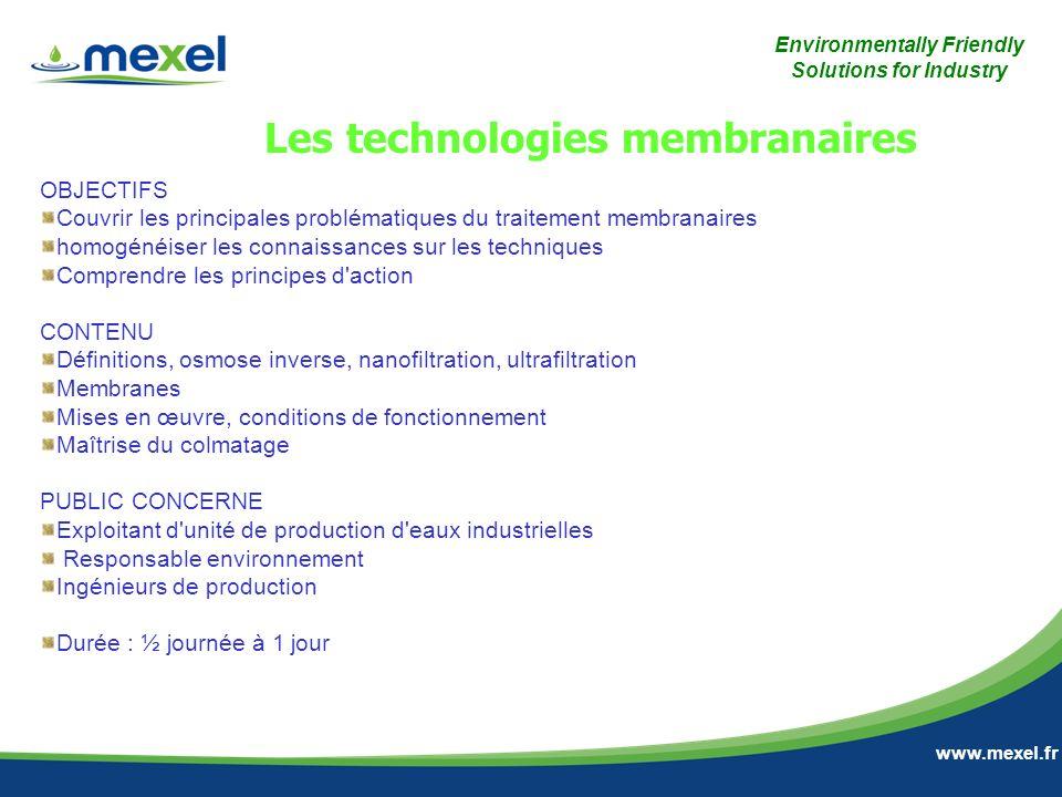 Les technologies membranaires