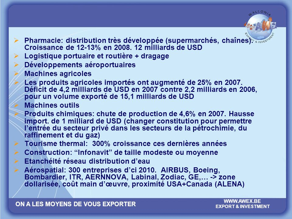 Pharmacie: distribution très développée (supermarchés, chaînes)