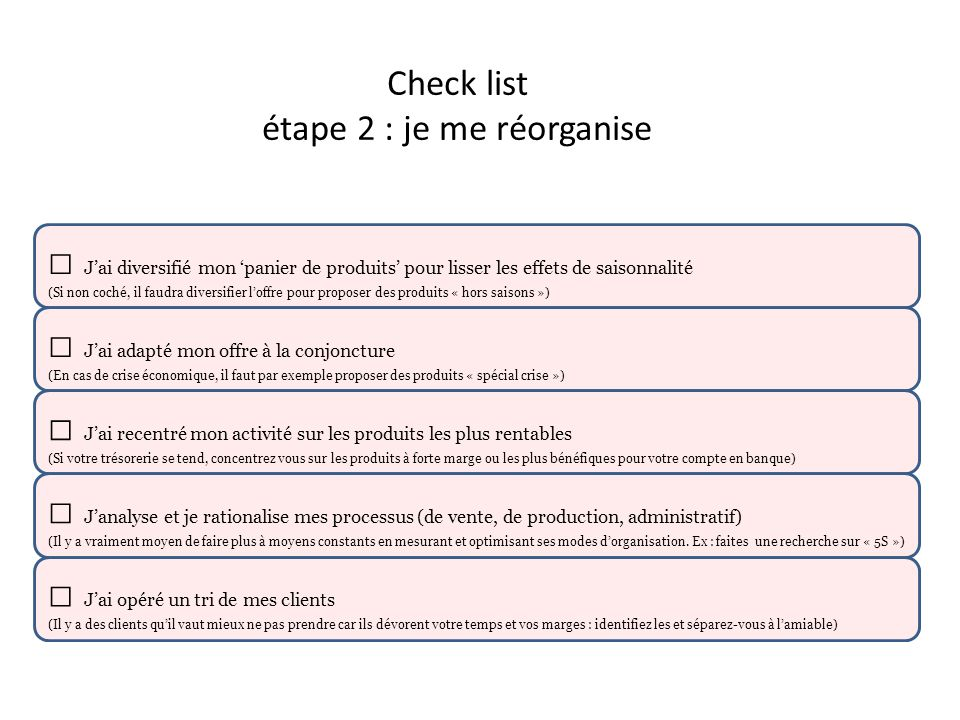 Check list étape 2 : je me réorganise