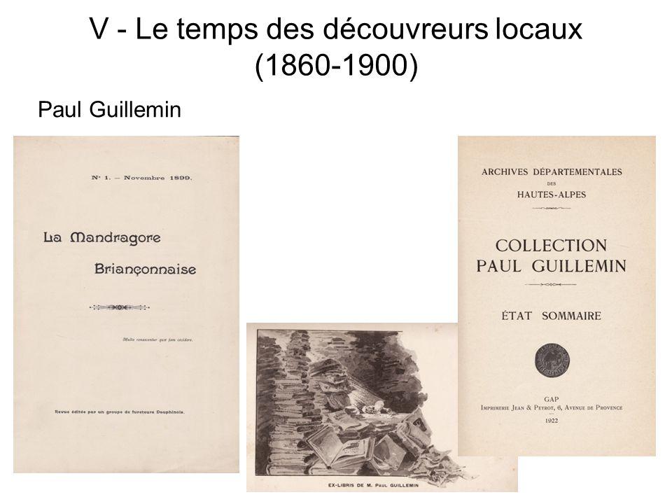V - Le temps des découvreurs locaux (1860-1900)