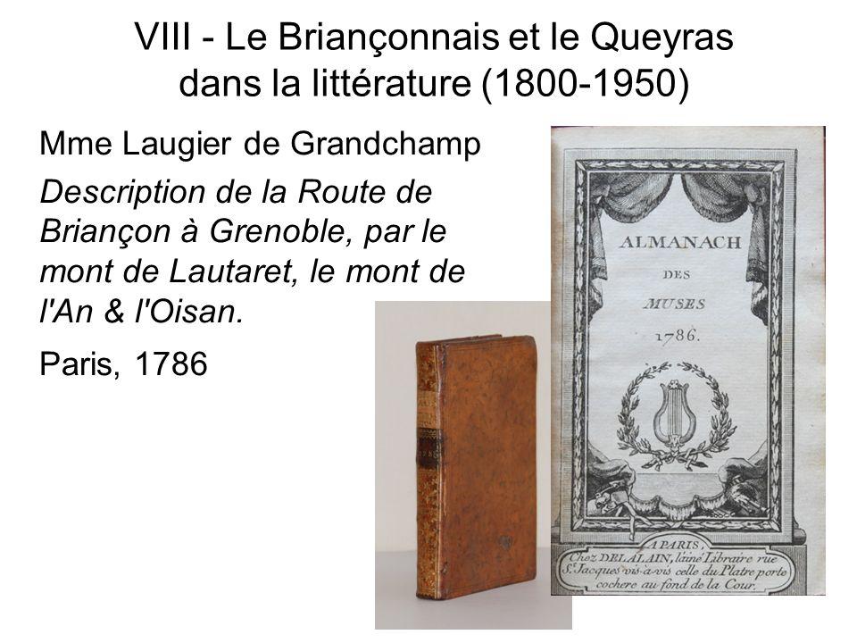 VIII - Le Briançonnais et le Queyras dans la littérature (1800-1950)
