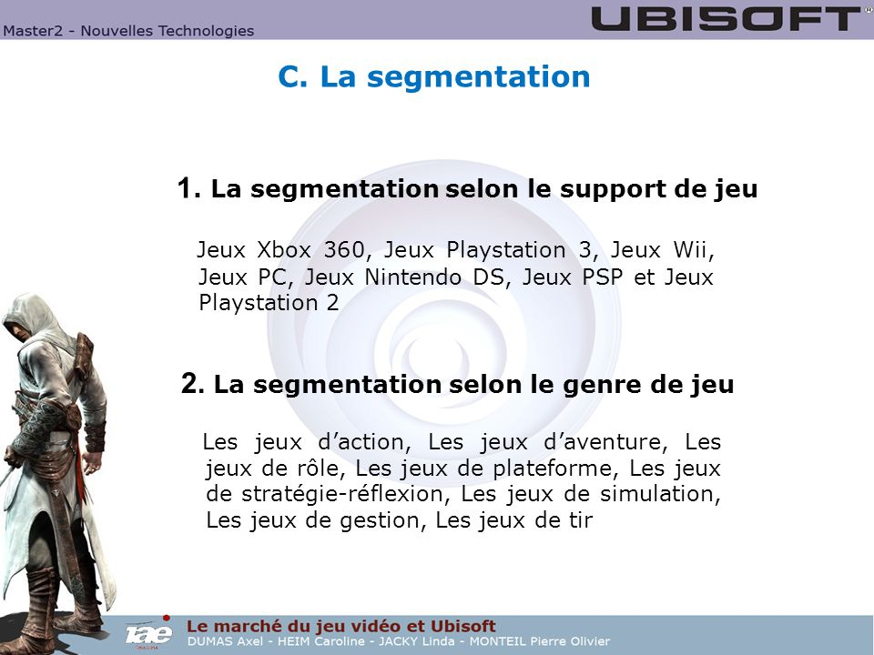 1. La segmentation selon le support de jeu