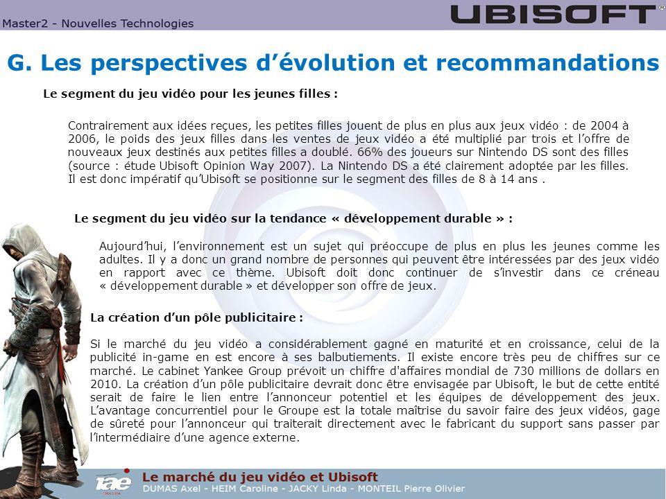 G. Les perspectives d'évolution et recommandations
