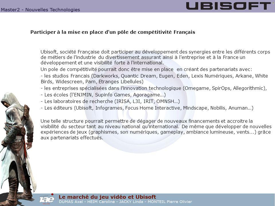 Participer à la mise en place d un pôle de compétitivité Français Ubisoft, société Française doit participer au développement des synergies entre les différents corps de métiers de l industrie du divertissement assurant ainsi à l entreprise et à la France un développement et une visibilité forte à l international.
