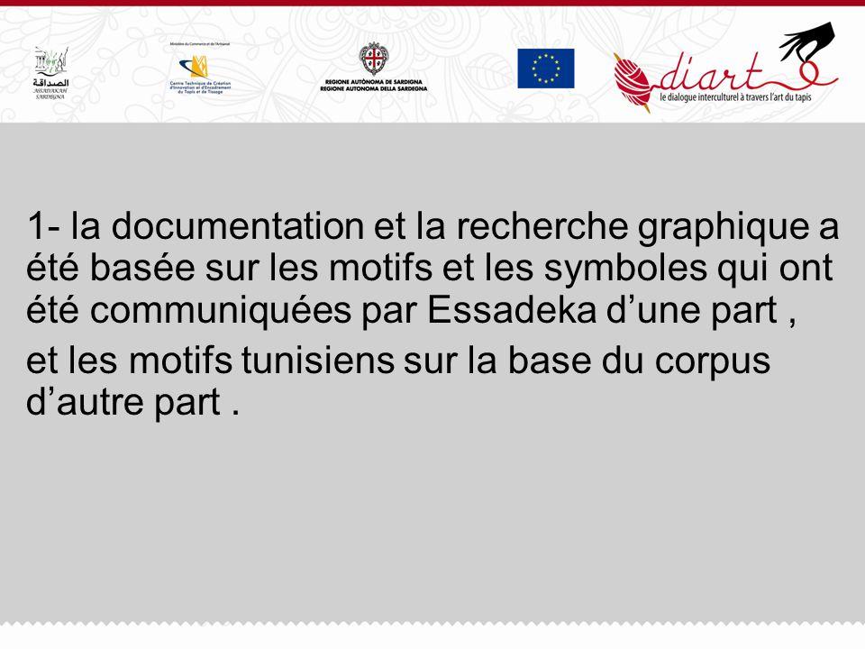 1- la documentation et la recherche graphique a été basée sur les motifs et les symboles qui ont été communiquées par Essadeka d'une part ,