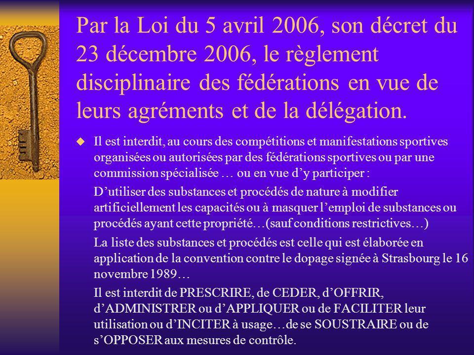Par la Loi du 5 avril 2006, son décret du 23 décembre 2006, le règlement disciplinaire des fédérations en vue de leurs agréments et de la délégation.