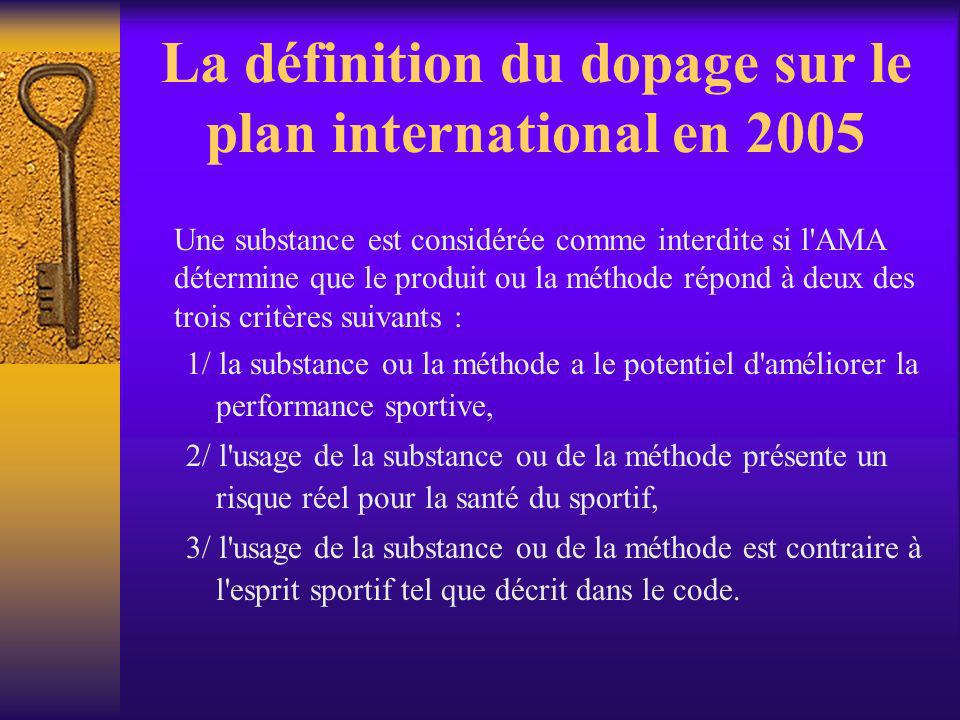 La définition du dopage sur le plan international en 2005