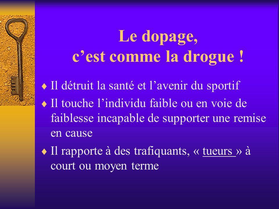 Le dopage, c'est comme la drogue !