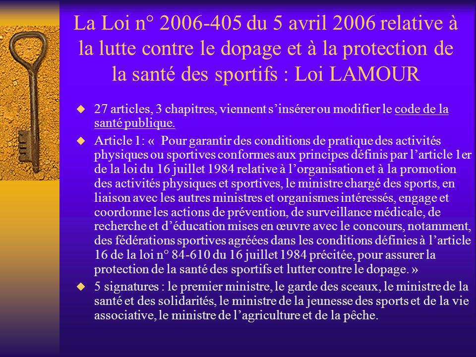 La Loi n° 2006-405 du 5 avril 2006 relative à la lutte contre le dopage et à la protection de la santé des sportifs : Loi LAMOUR