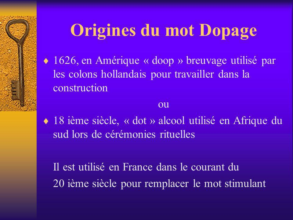 Origines du mot Dopage 1626, en Amérique « doop » breuvage utilisé par les colons hollandais pour travailler dans la construction.