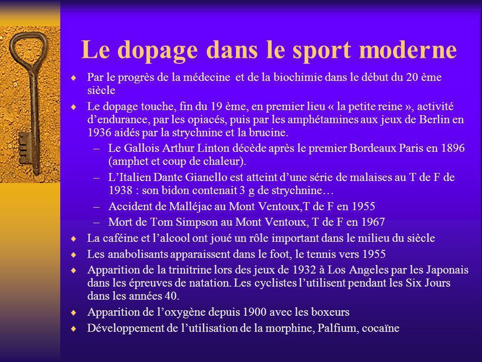 Le dopage dans le sport moderne