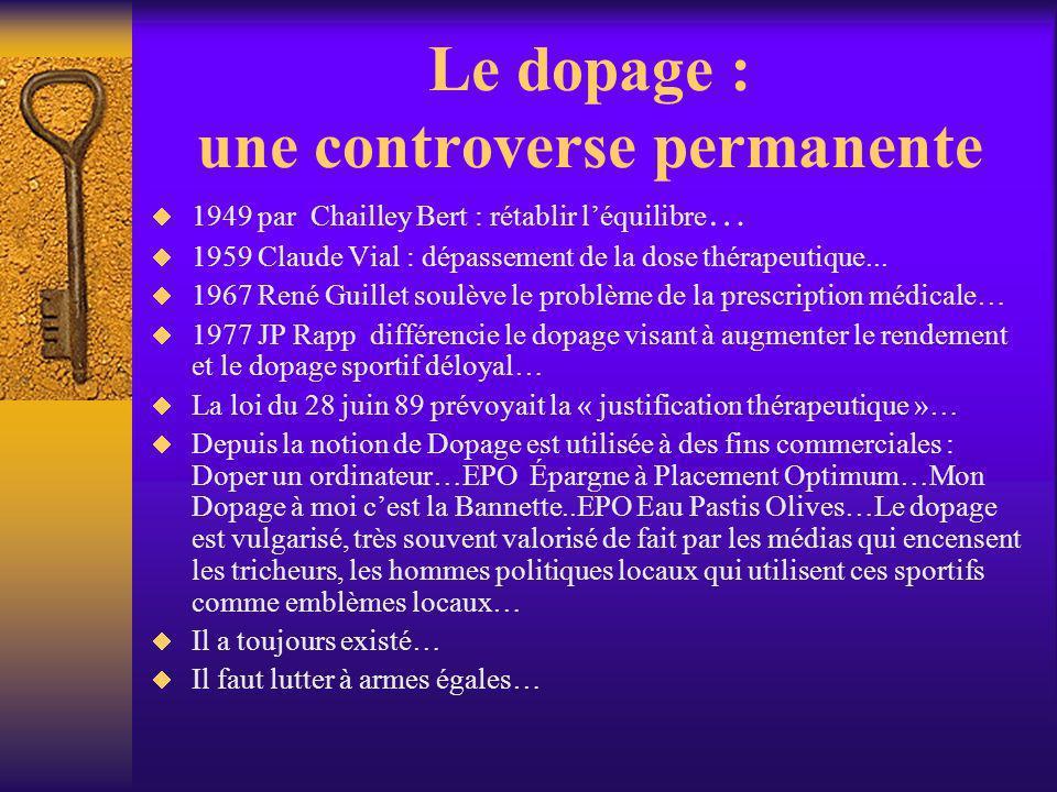 Le dopage : une controverse permanente