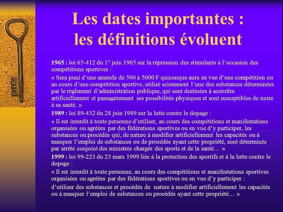 Les dates importantes : les définitions évoluent