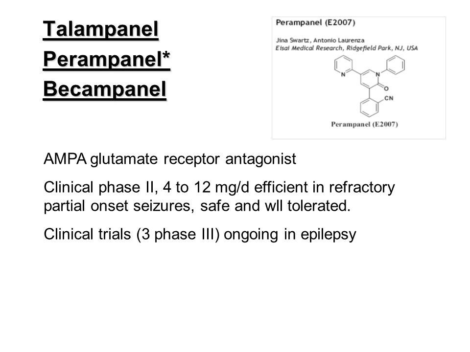 Talampanel Perampanel* Becampanel AMPA glutamate receptor antagonist