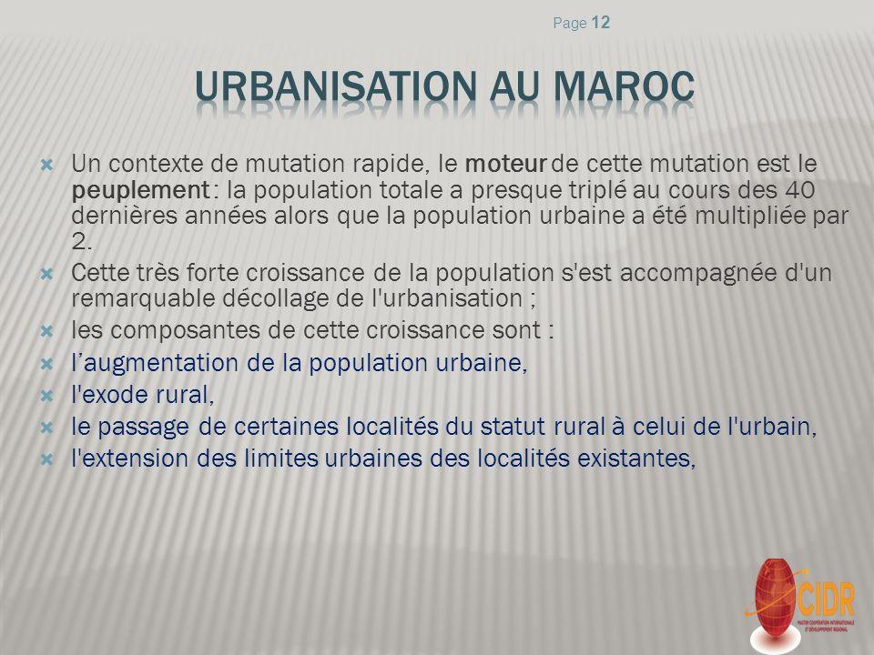 Page 12 Urbanisation au Maroc.