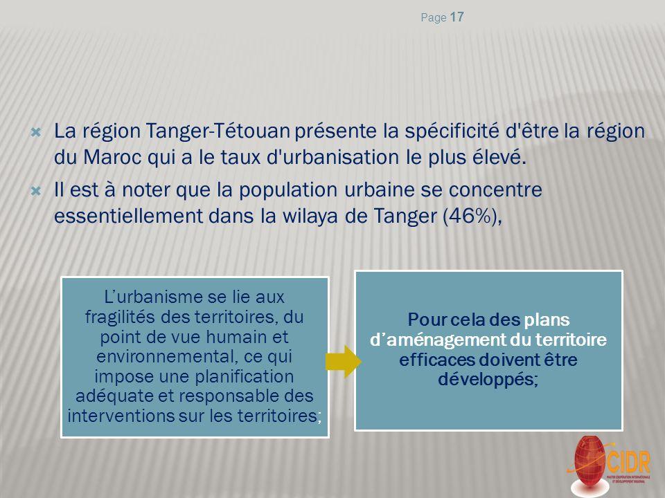 Page 17 La région Tanger-Tétouan présente la spécificité d être la région du Maroc qui a le taux d urbanisation le plus élevé.