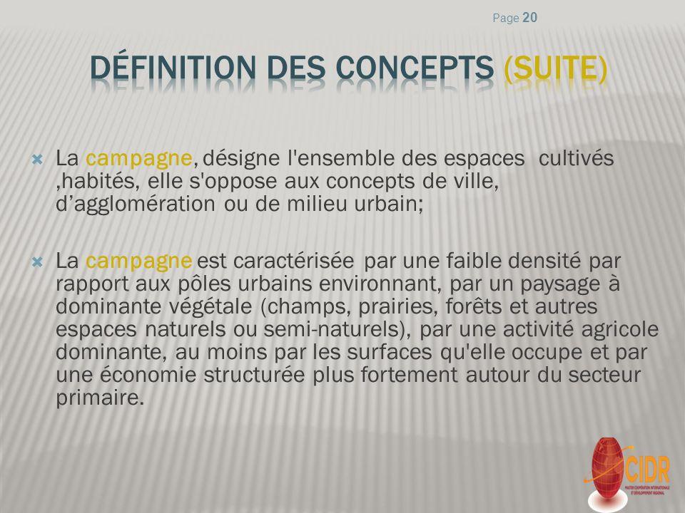 Définition des concepts (suite)