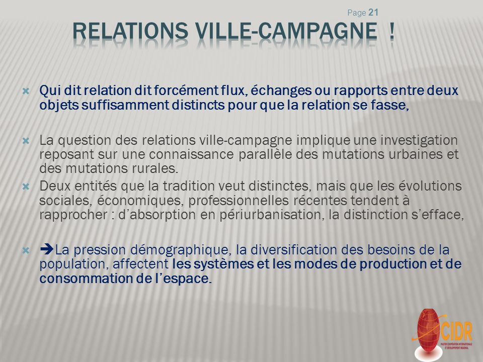 Relations ville-campagne !