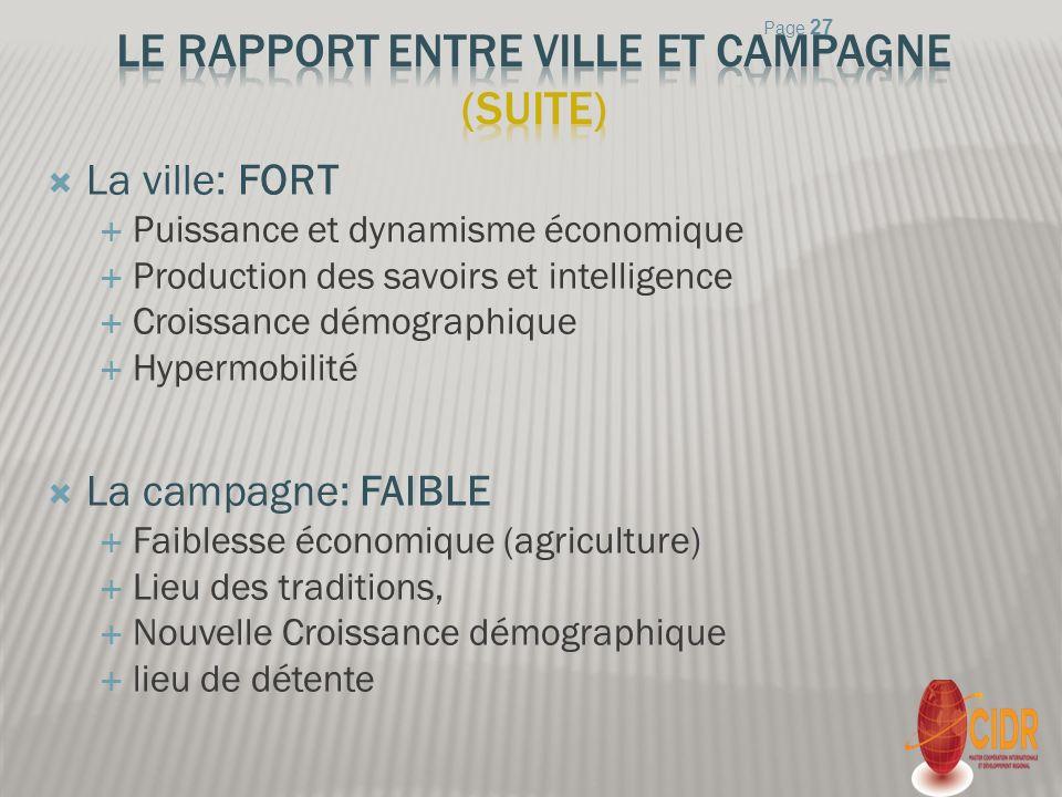 Le rapport entre ville et campagne (suite)
