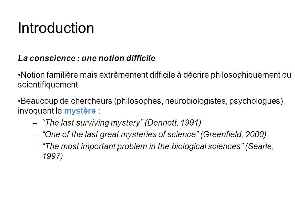 Introduction La conscience : une notion difficile