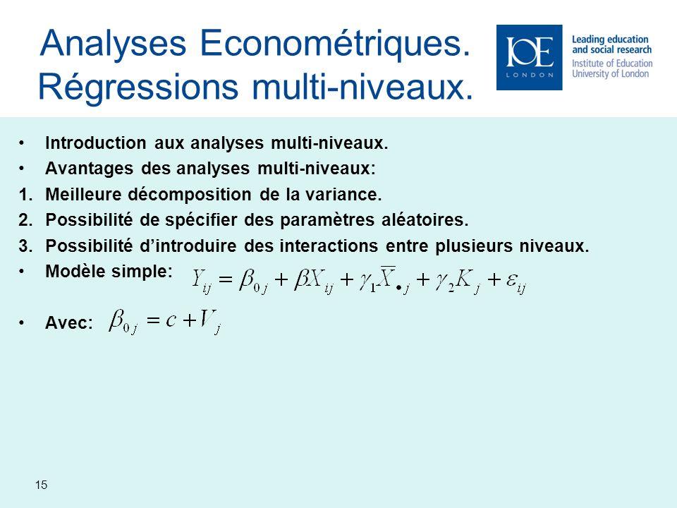 Analyses Econométriques. Régressions multi-niveaux.