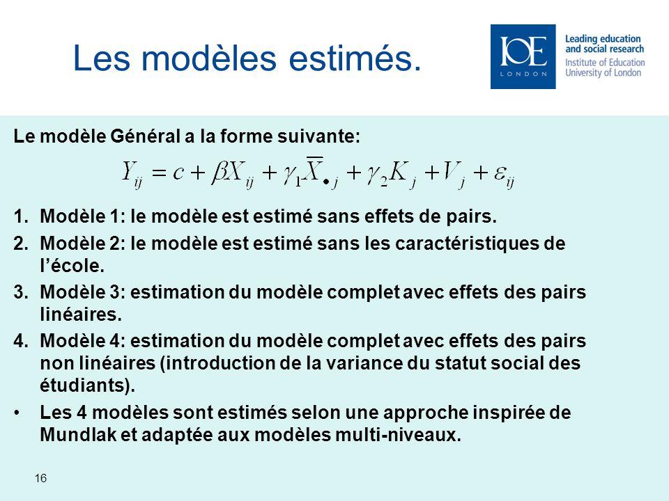 Les modèles estimés. Le modèle Général a la forme suivante: