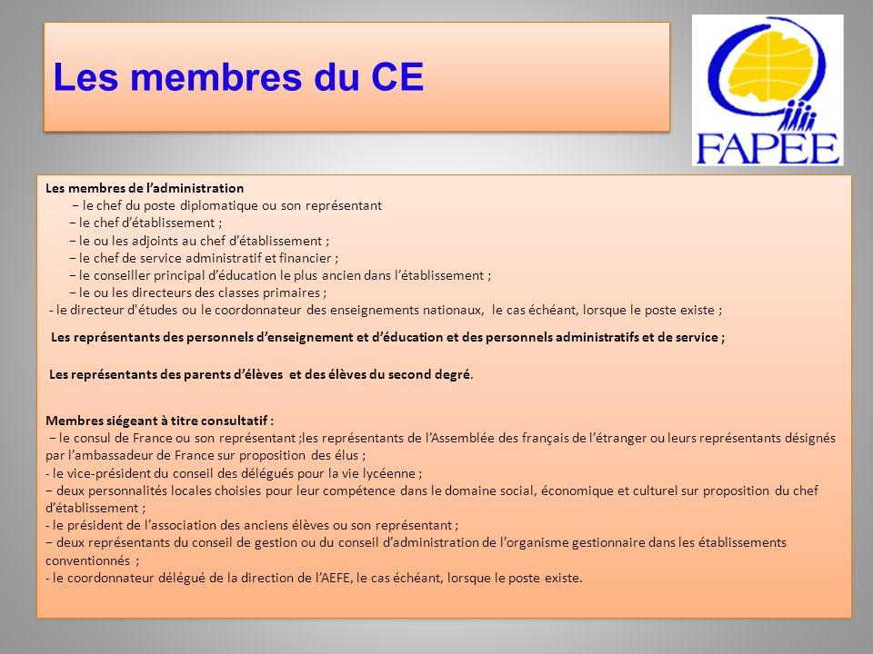 Les membres du CE Les membres de l'administration. − le chef du poste diplomatique ou son représentant